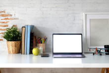 Workspace Blank Screen Laptop, Books, Color Pencils, Vintage Toy And Mockup Poster