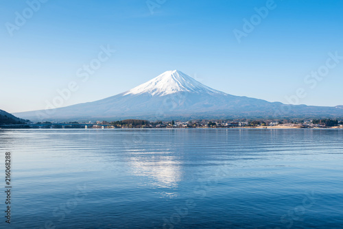 Printed kitchen splashbacks Reflection Fuji mountain landsapce. Travel and sightseeing in Japan on holiday.