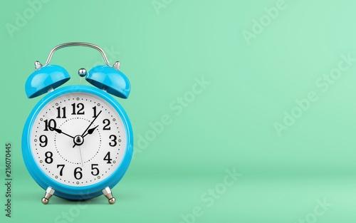 Papiers peints Pays d Afrique Blue Retro alarm clock on wooden table