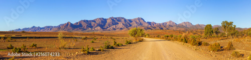 Photo Stands Blue sky Gravel countryside road leading to rugged peaks of Flinders Ranges mountains in South Australia