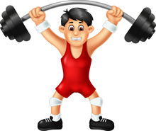 Handsome Boy Cartoon Weightlifting With Smile