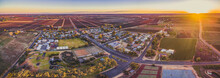Aerial Panorama Of Monash - Small Town In South Australia And Farmlands At Sunset