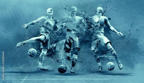Papiers peints Echelle de hauteur abstract soccer players
