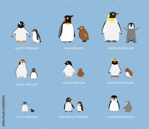 Fototapeta premium Penguin Babies Cartoon Emotion stoi ilustracji wektorowych