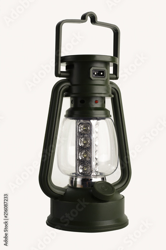 Photo  Green electric lamp camping.