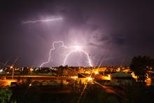 Lightning Strikes Over City.