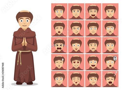 Fotografia Religion Christian Monk Cartoon Emotion Faces Vector Illustration