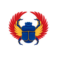 Flat Vector Icon Of Blue Scarab Beetle With Yellow-orange Wings. Ancient Sacred Insect. Symbol Of Egyptian Culture