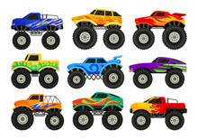 Set Of Monster Trucks. Heavy C...