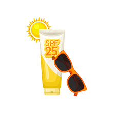 Plastic Tube Of Sunblock Lotion, Bright Sun And Red Sunglasses. Cosmetic Product For Skin Protection. Flat Vector Icon