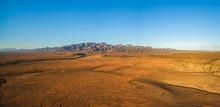 Aerial Panorama Of Flinders Ranges At Orange Sunset In South Australia