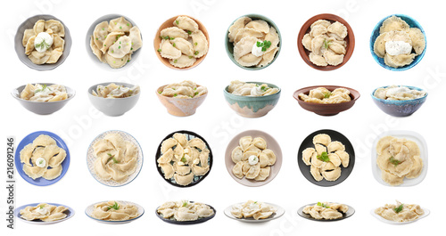 Photo  Set of delicious dumplings on white background