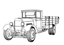 Outline Retro Truck Vector