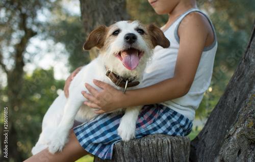 Plakat CHILD HUGGING JEGO PIĘKNIE I MAŁE JACK RUSSELL DOG SIEDZENIE W DRZEWO NA LATO