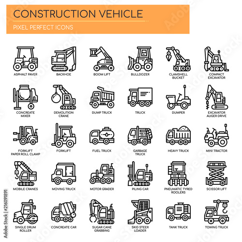 Valokuvatapetti Construction Vehicle , Thin Line and Pixel Perfect Icons.