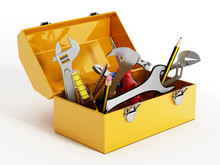 Yellow Toolbox With Hand Tools...