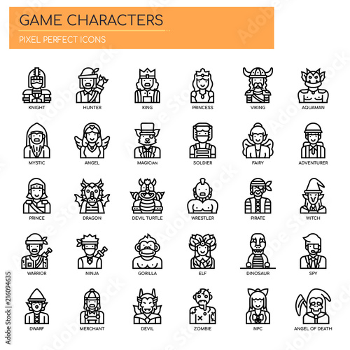 Game Characters , Thin Line and Pixel Perfect Icons Poster
