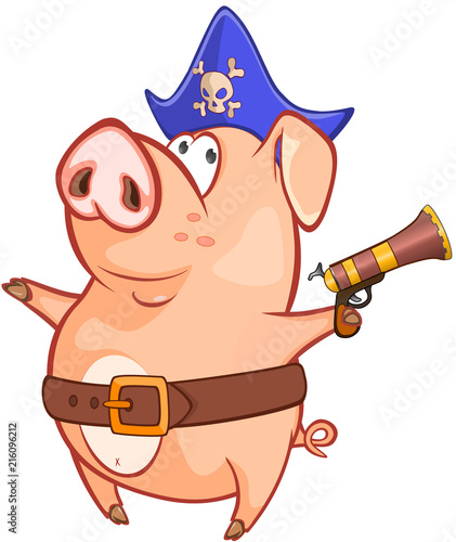 In de dag Babykamer Illustration of a Cute Pig. Cartoon Character