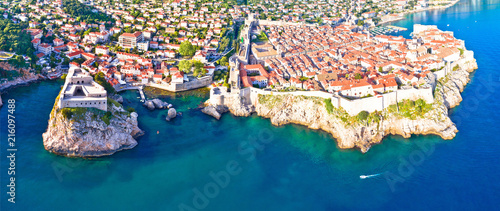 Tuinposter Kust Historic city of Dubrovnik aerial panoramic view