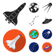 Planet Earth with continents and oceans, flying satellite, Ursa Major, UFO. Space set collection icons in black,flat style vector symbol stock illustration web.