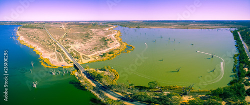 Aerial panorama of Loch Luna game reserve in Riverland, South Australia