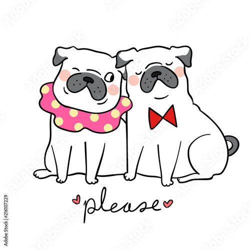 Fotografie, Obraz  Draw adorable couple love pug dog and word please