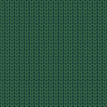 Seamless Pattern. Knitted Wool Background.Winter. Green. Texture. Vector.