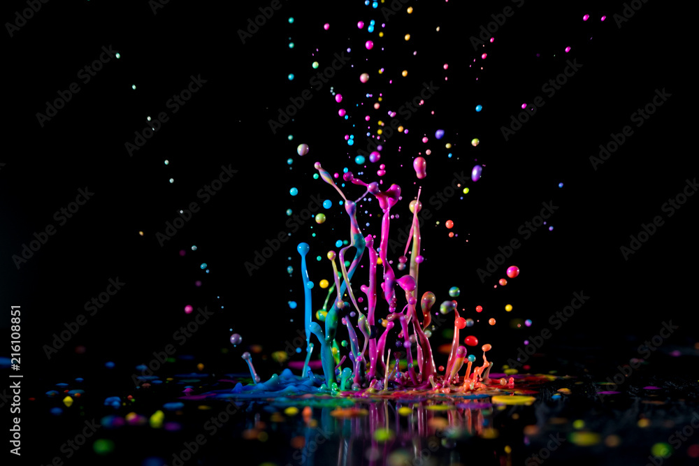 Fototapety, obrazy: Dancing color ink on black background