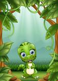 Fototapeta Dinusie - The little dinosaurs smile living in the jungle