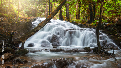 Poster Watervallen Beautiful waterfall in tropical forest at National Park