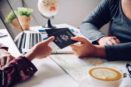Photo  Hand for tourist holding passport to authorities