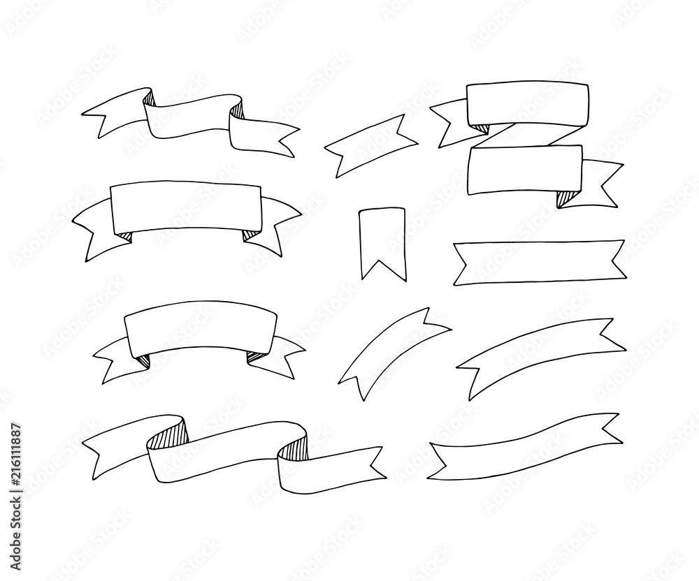 Fototapety, obrazy: Hand drawn vector ribbons set