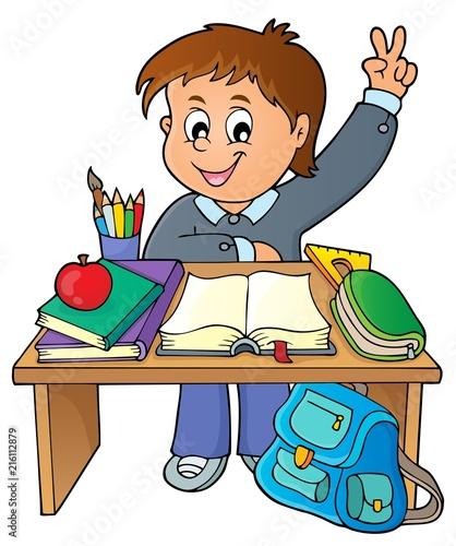 Foto op Plexiglas Voor kinderen Boy behind school desk theme image 1