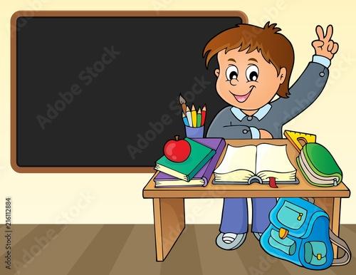 Foto op Plexiglas Voor kinderen Boy behind school desk theme image 2