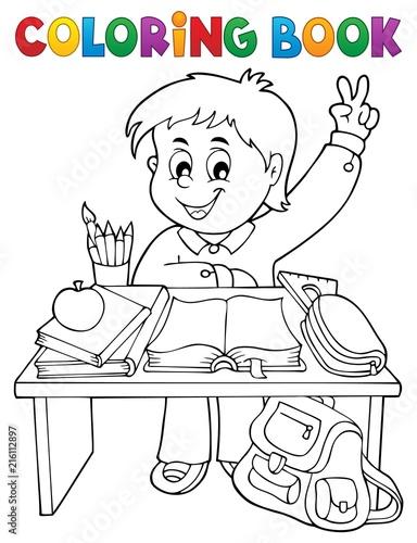 Foto op Plexiglas Voor kinderen Coloring book boy behind school desk