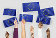 canvas print picture - Hands waving flags of the EuropeanUnion