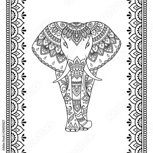 Set of Mehndi African elephant with ethnic floral vintage pattern and seamless border for Henna drawing and tattoo. Hand drawn decorative doodle animal in oriental, Indian style.