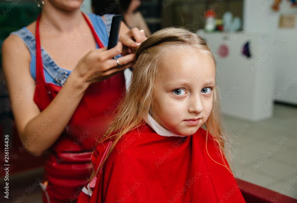 Hairdresser Trimming Brown Hair With Scissors Haircut Closeup