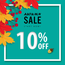 Autumn Sale Banner Background ,ten Percent Sale Off With Paper Art Design Vector Or Illustration