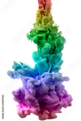 Photo  colorful dye in water on white background