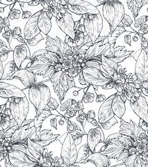 Vector seamless pattern with hand drawn flowers, blooming tree branches.
