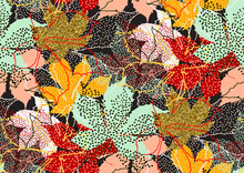 Fall Leaves Seamless Pattern With Gold Glitter Texture. Vector Illustration For Stylish Background, Textile, Wrapping Paper Design.