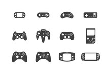 Video Games Joystick Icons Set. Silhouette Black. Isolated On White Background