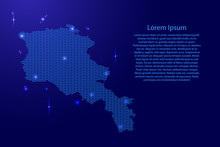 Armenia Map Country Abstract Silhouette From Wavy Blue Space Sinusoid Lines And Glowing Stars. Contour State Of Creative Luminescence Curve. Vector Illustration.