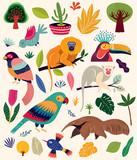 Fototapeta Fototapety na ścianę do pokoju dziecięcego - Cartoon vector illustration with funny cute brazilian animals and birds