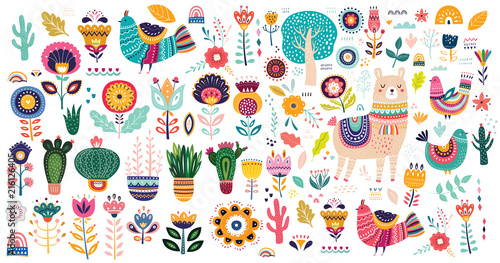 Fototapety, obrazy: Big vector collection with cute Llama, cacti and flowers.