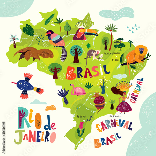 Obraz na plátně Vector illustration with map of Brazil