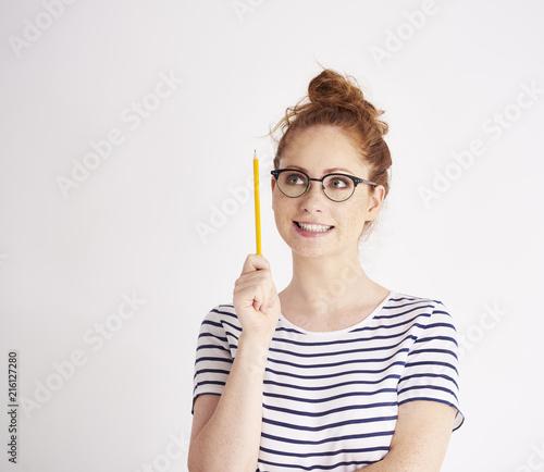 Staande foto Hoogte schaal Girl has got a great idea