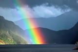 Fototapeta Tęcza - Rainbow over Erfjorden, Rogaland county, Norway