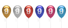 Number 9 Birthday Balloons Collection Gold, Silver, Red, Blue, Pink. 3D Rendering